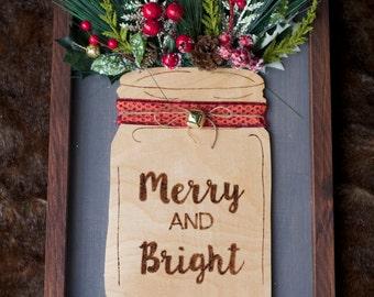 Merry and Bright Wood Mason Jar Christmas Decor Sign