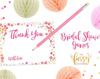 Thank You Bridal Shower Cards, Wedding Cards, Wedding Notes, Bridal Shower Notes, DIY Printable, Instant Download, Printable Shower Cards