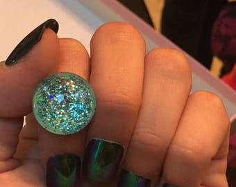 Green and Blue Glitter Ring