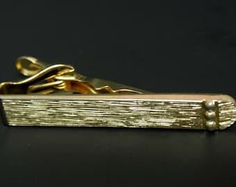 Vintage Men's Swank Brushed Gold Tone Tie Bar Clip