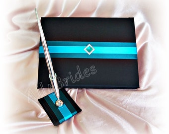 Wedding guest book black teal and turquoise, black wedding guest book