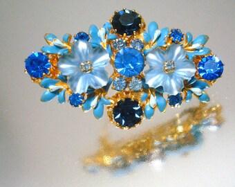 Blaues Glasblumen & Strass Pin Brosche Vintage
