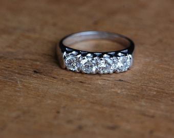 Vintage 18K Old European Cut diamond 1 carat anniversary band