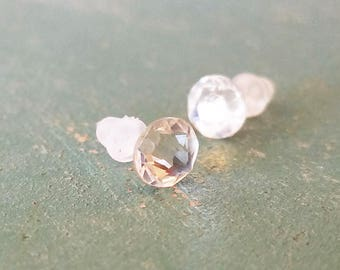 Swarovski clear crystal earrings on plastic posts for sensitive ears