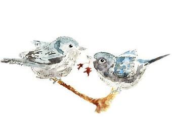 "Love Birds print, autumn decor, Bird painting, blue, cottage wall art, Winter Decor, cottage decor, bird wall art - ""Harmonious Puffs"""