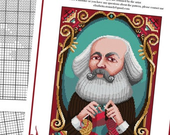 COUNTED STITCH pattern - Knitting Karl Marx -PDF - Suitable for cross stitch and needlepoint