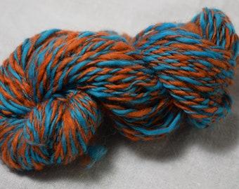 Orange and Blue Twist Handspun Yarn