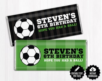 Soccer Chocolate Bar Wrappers. Birthday Chocolate Bar Wraps. Printable Party favors. Large Candy Bar Labels. Team - Sports Decor. Editable