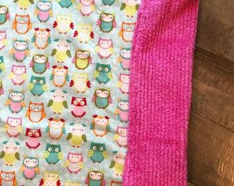 Baby Blanket  - Owl - Designer Baby Blanket  - Pink Chenille Backing