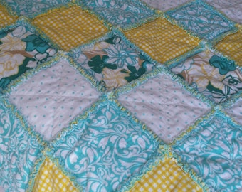 Modern chic yellow and aqua polka dots and floral rag quilt throw