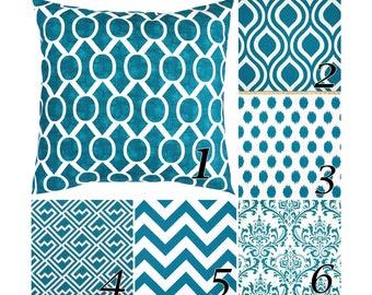 Aquarius Pillow Cover.Aquamarine Throw Pillows.Lumbar Pillows.Euro Sham.Decorative Pillows.Teal Accent Pillow.16x16,18x18,20x20