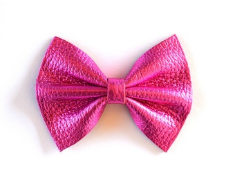 Hot Pink Metallic Leather Bow Clip for Newborn Baby Child Little Girl Photo Prop Adorable Beautiful Spring Summer Bright Clip Headband