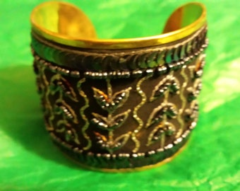 "2"" wide Beautiful Brass, Beaded and Sequin Vintage Bracelet"
