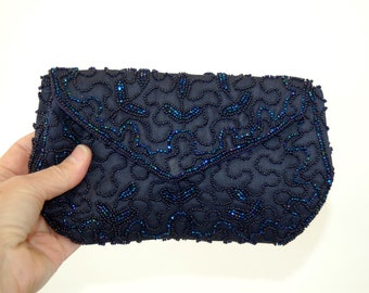 1950s purse clutch navy blue hand beaded bag Walborg Made in Belgium