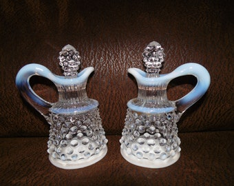 Fenton Hobnail French Opalescent Oil & Vinegar Cruets Excellent Cond! Vintage - Gifts for Mom, Gifts for Her, Mother's Day, Dining Serving