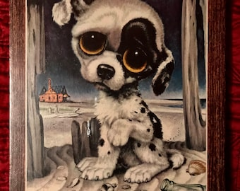 """Vintage 1960s Big Eyes Big Eyed Puppy Dog by Gia Particle Board Faux Wood Plaque. Litho Print. In Original Plastic Wrap Packaging. 14"""" x 11"""""""