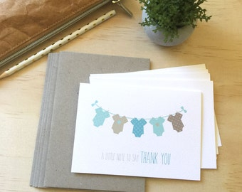 Thank You Baby Boy Card Pack | Boys Clothes | Set of 5 Cards | Baby Shower Thank You Cards | Baby Boy Thank You Cards | Baby Thank You Cards
