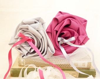 Holder pink fuchsia grey Pearl original wedding ring bearer pillow flower
