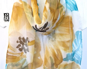 Hand Painted Silk Scarf, Etsy, Floral Scarf, Turquoise Blue and Yellow Ochre Hibiscus Scarf, Silk Chiffon Scarf. 11x60 inches. Made to order