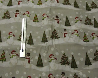 Fabric 1 Yard 30 inches Snowmen Snowflakes Christmas Trees Keepsake Calico Unwashed Cotton