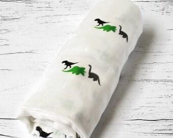 Organic Receiving Blanket, Organic Swaddle Blanket, Organic Baby Gift, Dinotrio