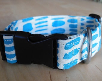 Handmade dog collar in Gu den, model brush strokes size M