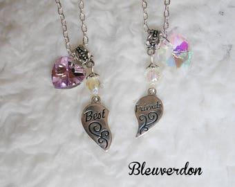 Friendship necklaces best friends set of 2 necklaces for best friends hearts pendants