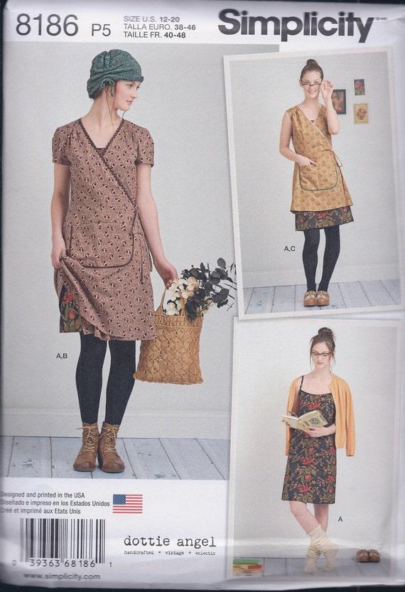 Simplicity 8186 Misses Dottie Angel Wrap Dress Tunic Slip