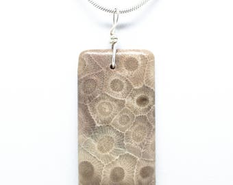 Rectangle Petoskey Stone Pendant