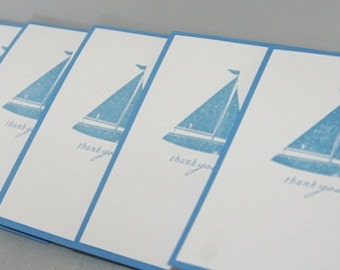Blue Sailboat Thank You Hand Stamped Note Card Set of Ten, Sailboat Thanks Greeting Card Set, Nautical Stationery for Men