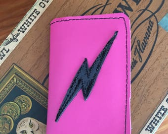 Leather Wallet lightening bolt hot pink