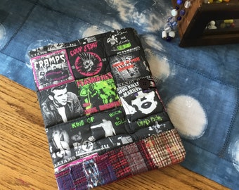 COMPOSITION Notebook Book Cover - Punk Rock Music quilted fabric collage - Goth Girl
