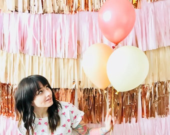 Blush Champagne and Rose Gold Party Backdrop Fringe Curtain, Photography Background, Photobooth, bachelorette, baby shower, Custom Wedding