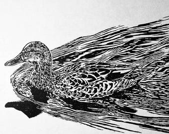 "Female Mallard, hand carved woodblock print, 12""x16"""
