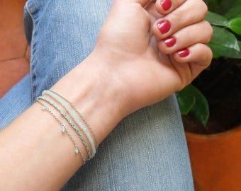 """""""COB"""" multi strand, Amazonite, Jade, silver bracelet, silk."""