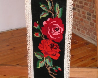 Vintage Wall Hanging Embroidery /   Cross Stitched Wall Decor  / Roses