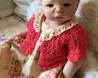 Lucy Layne Crochet Sweater Pattern - Baby to Child - Newborn, 3 Mo, 6 Mo, 12 Mo, 2, 4, 6
