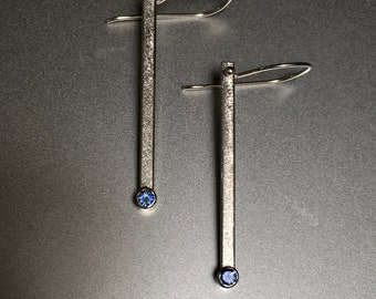 Blue Sapphire and Fine Silver Earrings