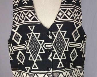 Vintage 90s vest, Diamond Tapestry Woven, Graphic, Black and White, Size L
