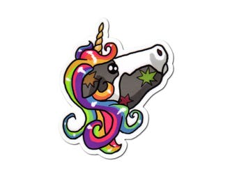 Rainbow Cow Vinyl Sticker, Unicorn Sticker, Cute Cow, Laptop Sticker, Phone Decal, Helmet Sticker, Skateboard Sticker, Car Sticker, Bumper