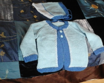 Hand knit baby boys sweater and hat set