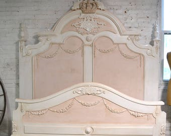 French Bed Painted Cottage Shabby Chic French Romantic Princess Bed Queen / King Bed VICTPK