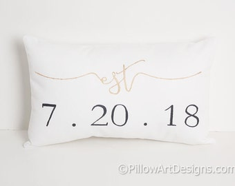 Pillow Personalized Est Date Pillow Wedding Date Mini Pillow Black Metallic Gold White Cotton 8 X 12 Made in Canada