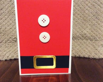 Father Christmas Card | Santa | Red | Gold | Black Belt | Xmas