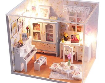 Paris coffee cake shop dollhouse diy kit miniature summer day bedroom dollhouse diy kit miniature dollhouse diy kit miniature room diy solutioingenieria Images