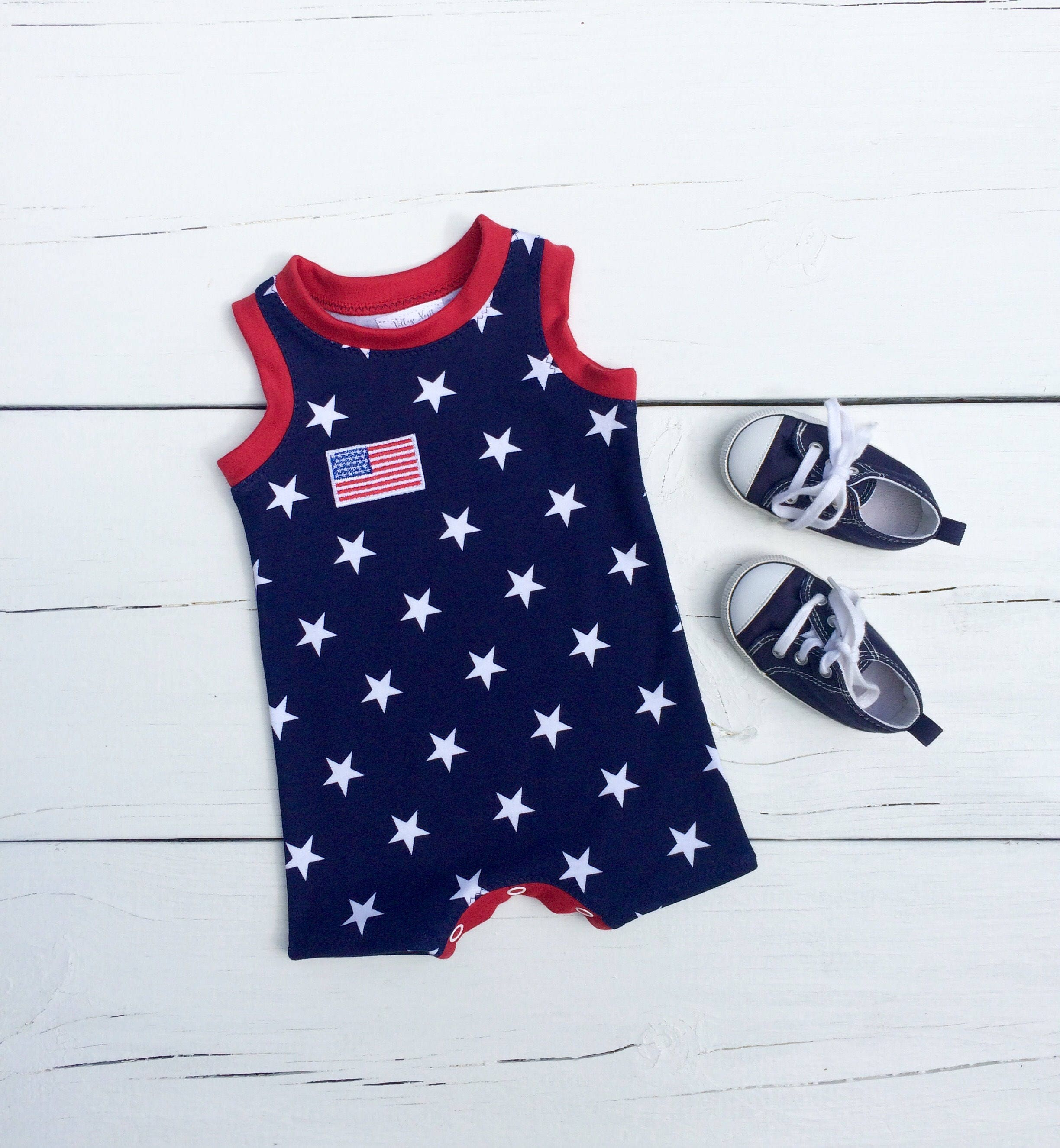 July 4th Baby Romper American Flag Romper Stars Baby Outfit Red