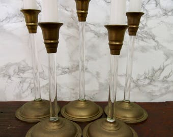 Set of 5 Brass and Acrylic Lucite Graduated Tulip Vintage Candle Stick Holders