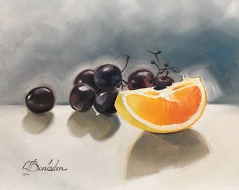 "Original one of a kind oil painting of fruits 8x10""oil on gallery wrapped canvas."