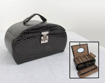 Vintage Jewelry Box Travel Tote - Train Case - Faux Reptile -  ca 70s
