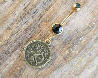Sagittarius Belly Button Ring, Gold Navel Ring, Dangle Belly Ring, Body Piercing, Zodiac Charm, Body Jewelry, 14g Barbell.